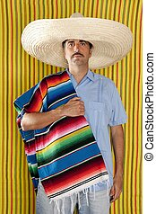 Mexican man serape poncho hat sombrero yellow stripes...