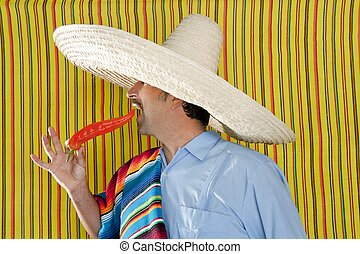 Chili hot pepper Mexican man typical poncho serape