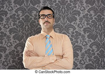 businessman nerd portrait retro glasses wallpaper