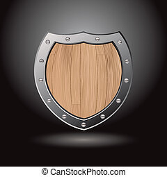 Wood shield blank light - Protective wood shield icon with...