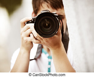 photographer - natural light, selective focus point on...