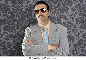 nerd serious proud businessman sunglasses portrait wallpaper...