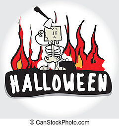 Halloween and the Skeleton Costume VECTOR ILLUSTRATION...