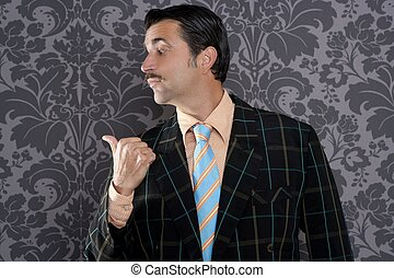 nerd businessman portrait pointing thumb finger