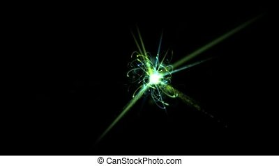 galaxy explosion launch rays light and rotation energy...