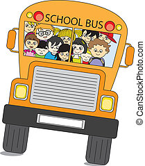 School bus - Back to school. School bus full of children