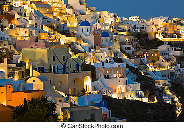 Santorini night Oia - Greece vacation background