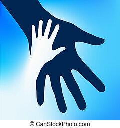 ajudando, mãos, criança