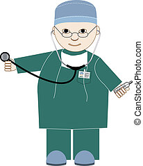 medical man - doctor with a stethoscope and a thermometer in...