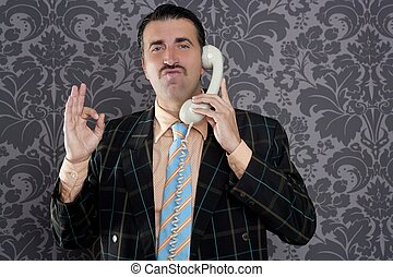 happy ok gesture telephone man retro hand sign mustache...
