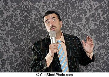 nerd retro mustache man microphone singing silly