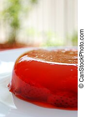 Jelly with strawberries - Close up of red ripe strawberries...