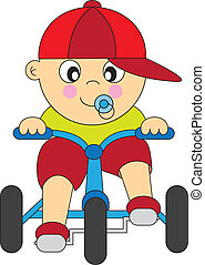 boy tricycle  - boy driving a tricycle