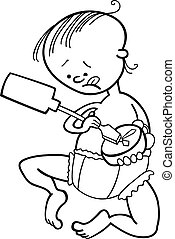 boy destroying the clock for coloring book - illustration of...