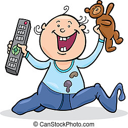 boy with remote control and teddy bear - illustration of...