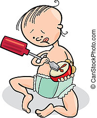 baby boy destroying the clock - illustration of baby boy...