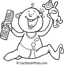 boy with remote control and teddy bear for coloring book -...