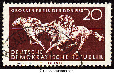 Horse riding sports on post stamp
