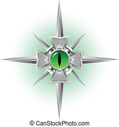 Amulet. Dragon Eye. - Amulet. Dragon green Eye. Illustration...