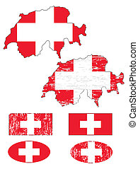 Switzerland flag and map