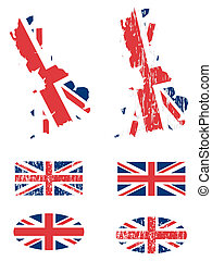 United Kingdom flags and map