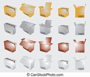 Cardboard boxes, open and closed, vector illustration