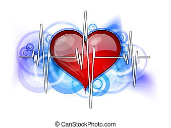 red heart - white cardiogram with red heart