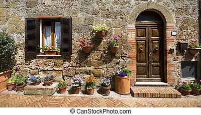 Sovana Tuscany - Italy - Close up of street scene in Sovana...