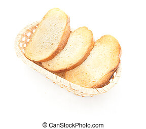 A toasted bread slices for breakfast isolated on white...