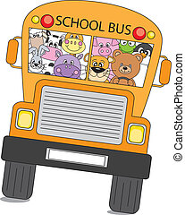 animals school - Many animals are on the bus to school