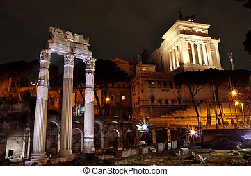 Roman Forum and Vittorio Emanuele Monument in Rome