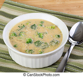 Broccoli and Chedar Soup - Bowl of broccoli and chedar...