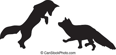 silhouette of foxes