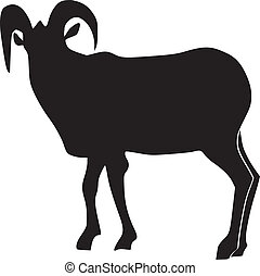 silhouette of wild mountain goat