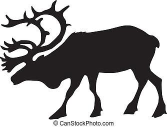 silhouette of reindeer