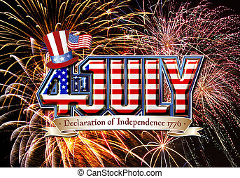 4th July graphic with fireworks - 4th July graphic with...