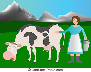 Adult cow and milkmaid on the meadow