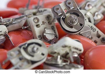 resistors - variable value resistors arranged to orange...