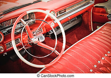 classic car - classic american car interior with red leather...