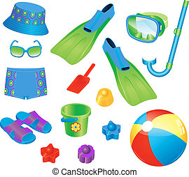 Beach accessories for boy - Colorful set of beach...