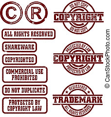 CopyrightTrademark Stamps - Rubber stamp style copyright and...