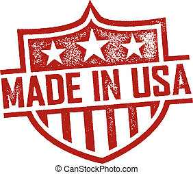 Made in USA Stamp - Rubber stamp style Made in USA shield