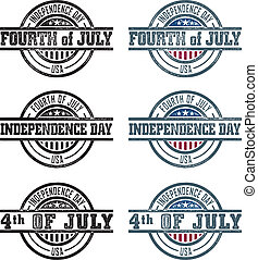 Vector Fourth of July Stamps - An assortment of rubber stamp...