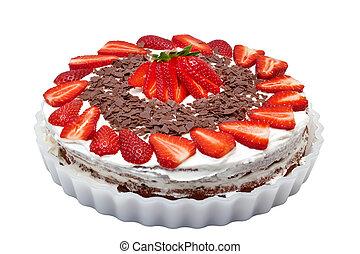 fresa, pastel, aislado, blanco, Plano de fondo
