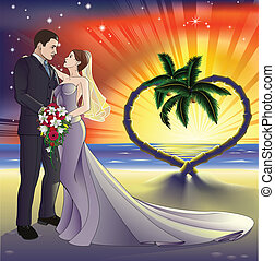 Tropical beach wedding illustration - Bride and groom newly...