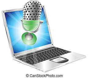 Microphone flying out of laptop screen concept