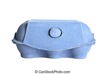 Eggs carton - Box from recycling carton for 6 eggs isolated...