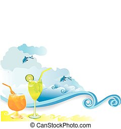 Summer beach drink - Summer beach vacation drink of...