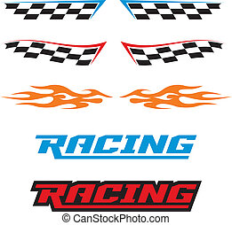 Racing Icons - A selection of vector racing icons, flames,...