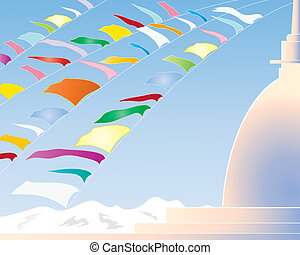 prayer flags - an illustration of colorful prayer flags on a...